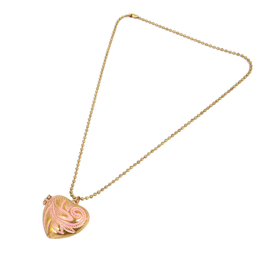 Women Metal Heart Shape Design Pendant Slim Beads Chain Necklace Neckwear Collar Gold Tone Pink