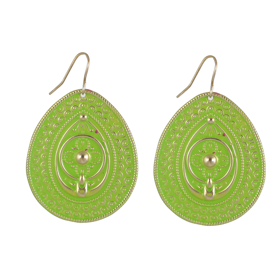 "Lady Women Metal Oval Shape Filled Structure Dangling Pendant Hook Earrings Earbobs Bright Green Copper Tone 2"" Length Pair"