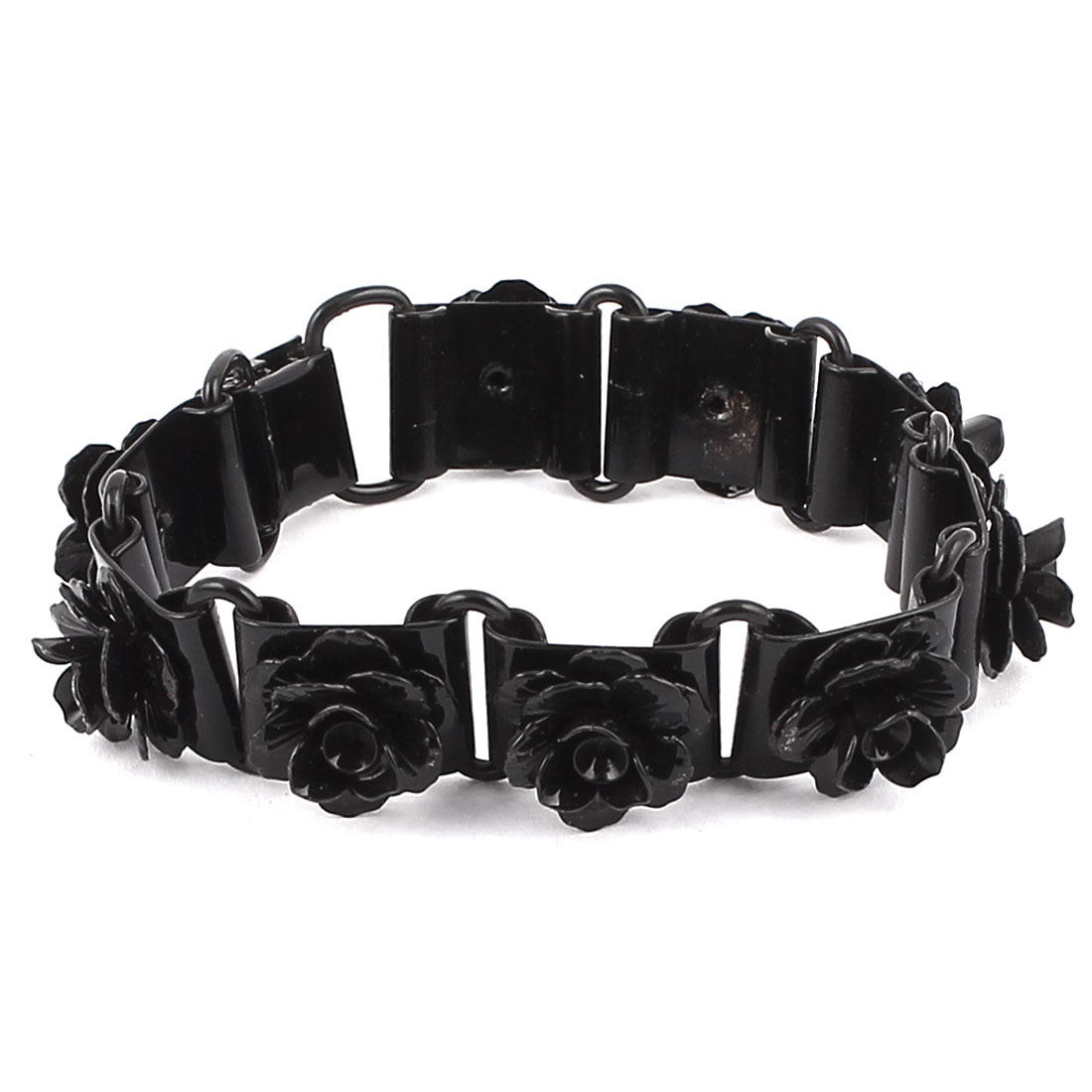 Unisex Black Metal Folded Over Clasp Closure Flower Decoration Bracelet Bangle for Lady Women Men