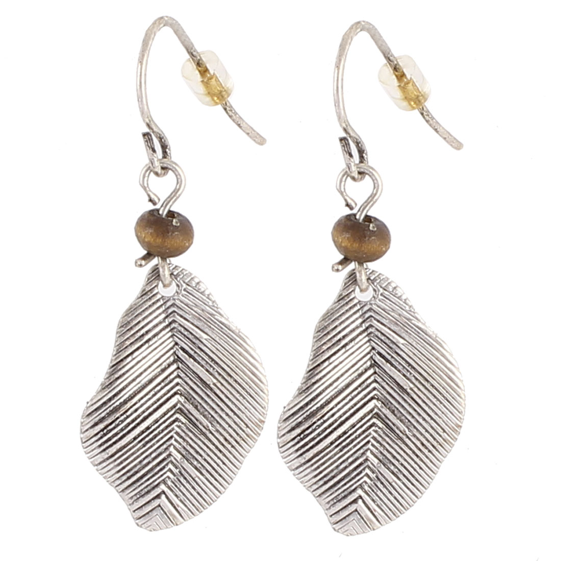 "Women Plastic Brown Bead Decor Metal Leaf Shape Dangling Pendant Hook Earrings Earbobs Silver Tone 1.4"" Length Pair"