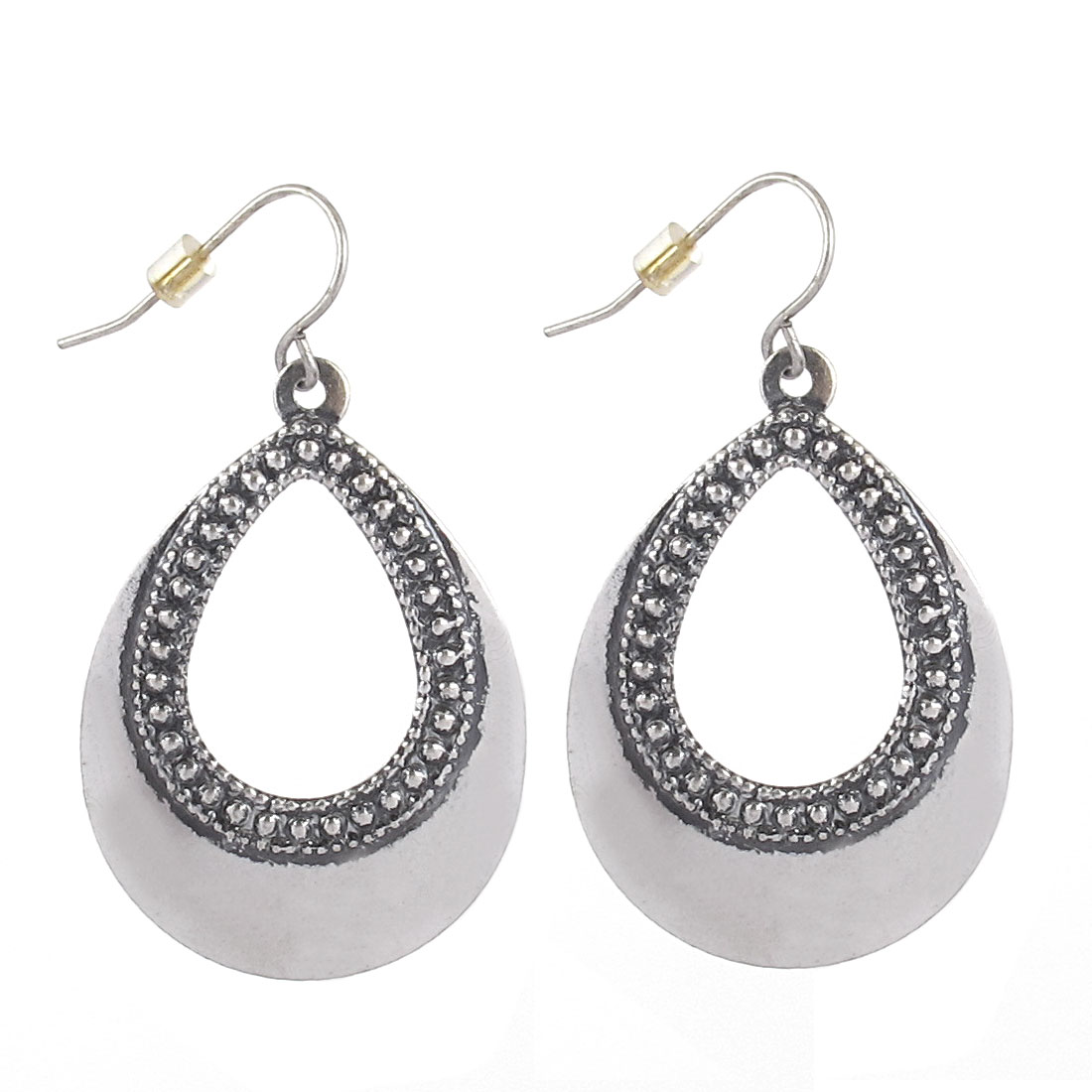 "Lady Women Metal Small Hollow Cobblestone Shape Dangling Pendant Hook Earrings Earbobs Silver Tone 1.8"" Length Pair"