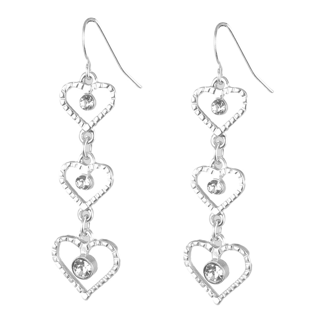 "Women Metal Three Hollow Out Hearts Shape Connect Design Dangling Pendant Hook Earrings Earbobs Silver Tone 2.2"" Length Pair"
