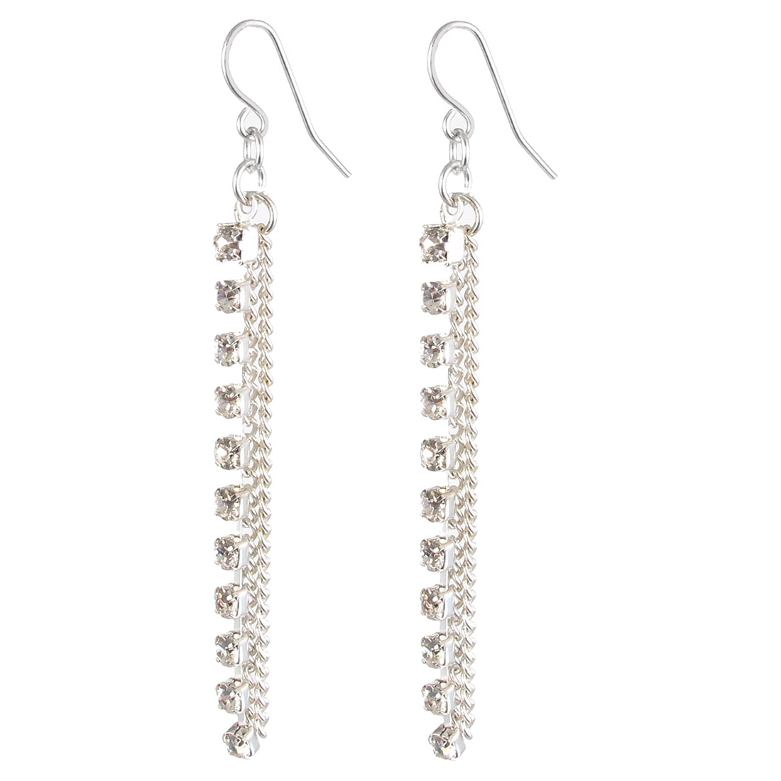 "Women Plastic Diamante Inlaid Chain Tassels Dangling Pendant Metal Fish Hook Earrings Earbob Silver Tone 2.8"" Length Pair"