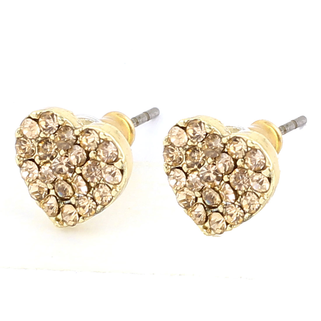 1.5cm Length Copper Tone Metal Heart Shape Plastic Rhinestones Inlaid Pierced Stud Pin Ear Nail Earrings Earbobs Pair for Lady Women