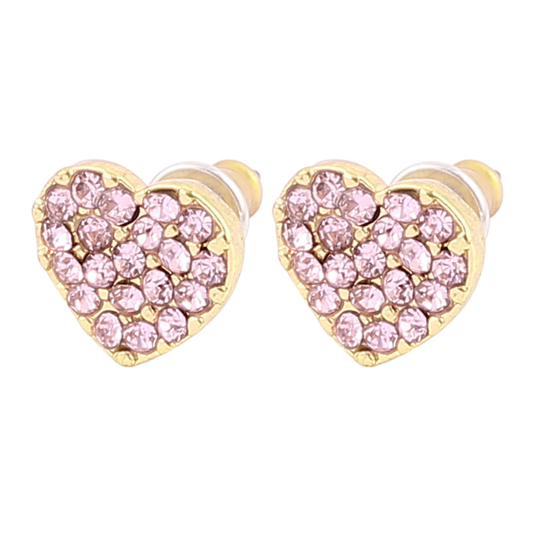 1.5cm Length Copper Tone Pink Faux Crystals Inlaided Heart Shape Metal Pierced Stud Pin Ear Nail Earrings Earbobs for Lady Women