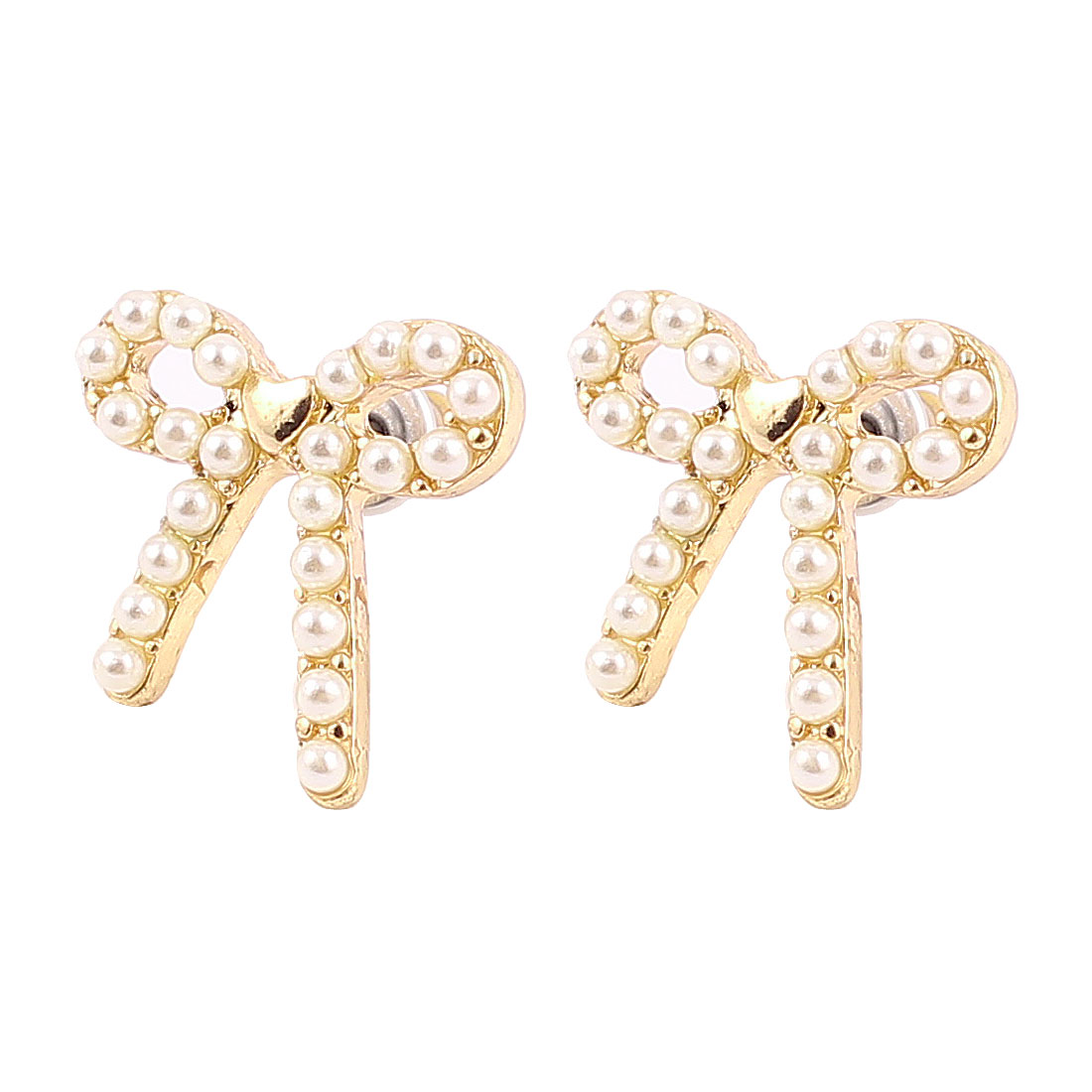 1.5cm Length Gold Tone White Plastic Artificial Beads Decor Bowknot Shape Metal Pierced Stud Pin Ear Nail Earrings Earbobs for Lady Women