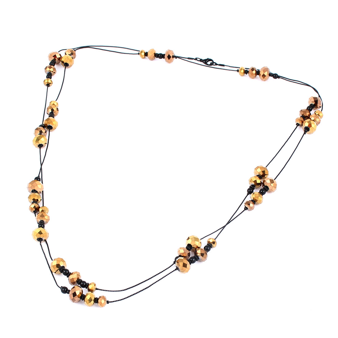 Gold Tone Black Plastic Beads Decor Metal Lobster Buckle Strip Link Slim Chain Necklace Neckwear Collar for Ladies Women