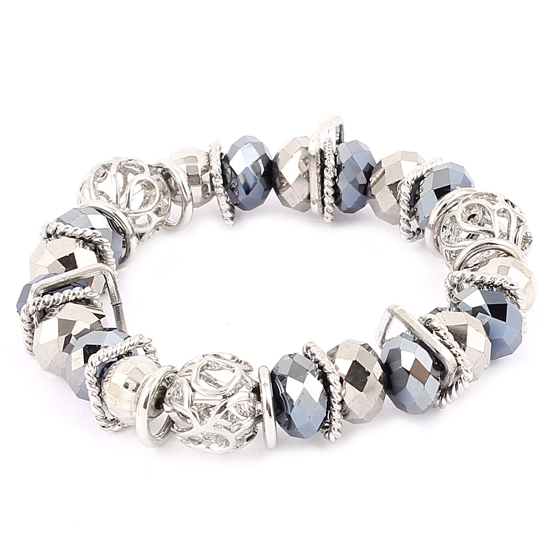 Silver Tone Yale Blue Plastic Rhinestone Fashion Charming Ornament Elastic Band Wrist Decor Bracelet Bangle for Lady Women Men