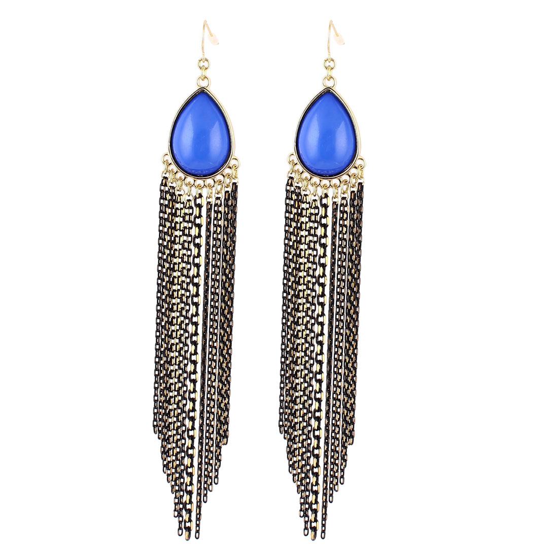 "Woman Black Blue Plastic Rhinestone Chain Tassels Design Dangling Pendant Metal Fish Hook Earrings Earbob Gold Tone 6.1"" Length Pair"