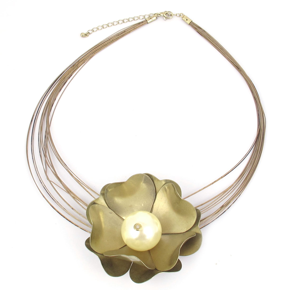 Ladies Plastic Imitation Pearl Inlaid Light Yellow Lotus Shape Decor Metal Lobster Buckle Steel Wires Necklace Neckwear Collar Copper Tone