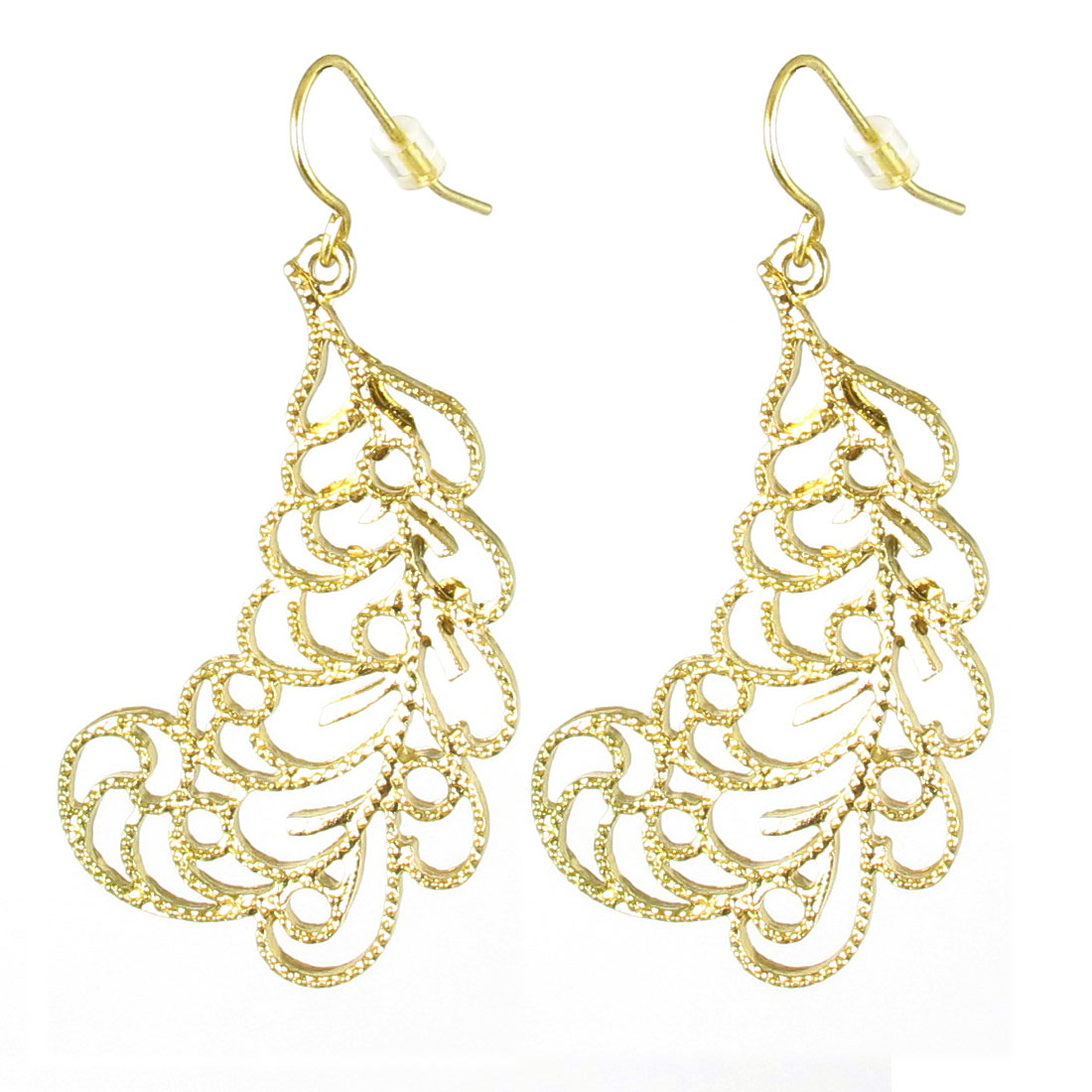 "Women Metal Stylish Glittery Dangling Pendant Hook Earrings Earbobs Gold Tone 2"" Length Pair"