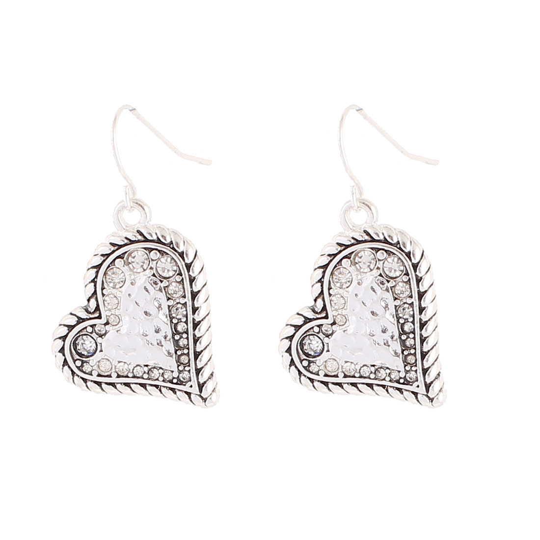 "Woman Metal Heart Shape Dangling Pendant Hook Earrings Earbobs Silver Tone 1.4"" Length Pair"