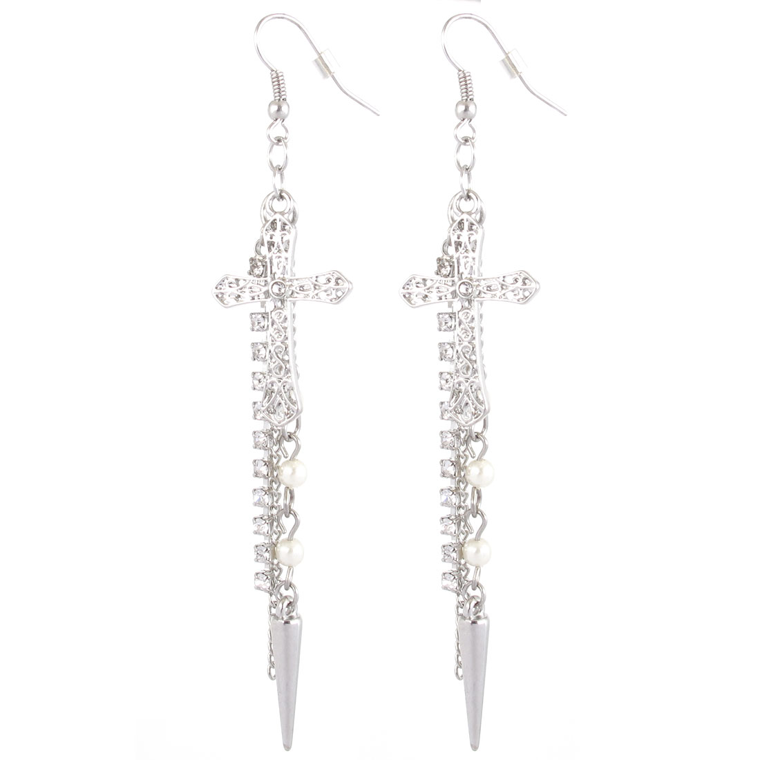"Women Plastic Diamante White Beads Decor Chain Tassels Crux Design Hanging Pendant Metal Fish Hook Earrings Earbob Silver Tone 3.9"" Length Pair"