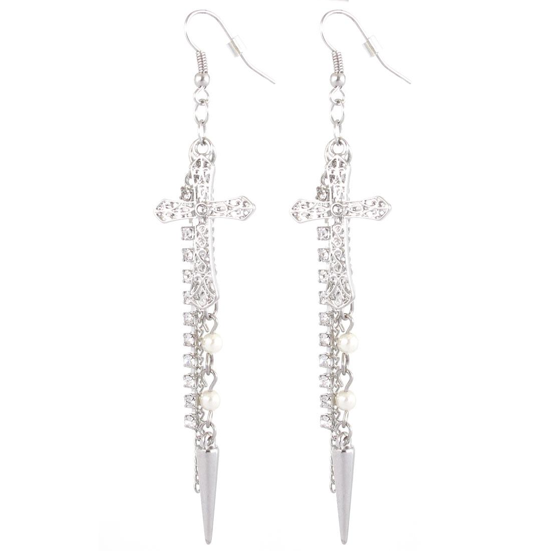 "Women Plastic Diamante White Beads Decor Chain Tassels Crux Design Hanging Pendant Metal Fish Hook Earrings Earbob Silver Tone 3.9"" Length Pair"