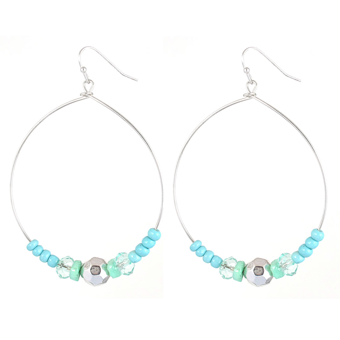"2.2"" Dia Silver Tone Light Blue Green Plastic Slip Beads Metal Hook Earrings Pair for Lady Women"