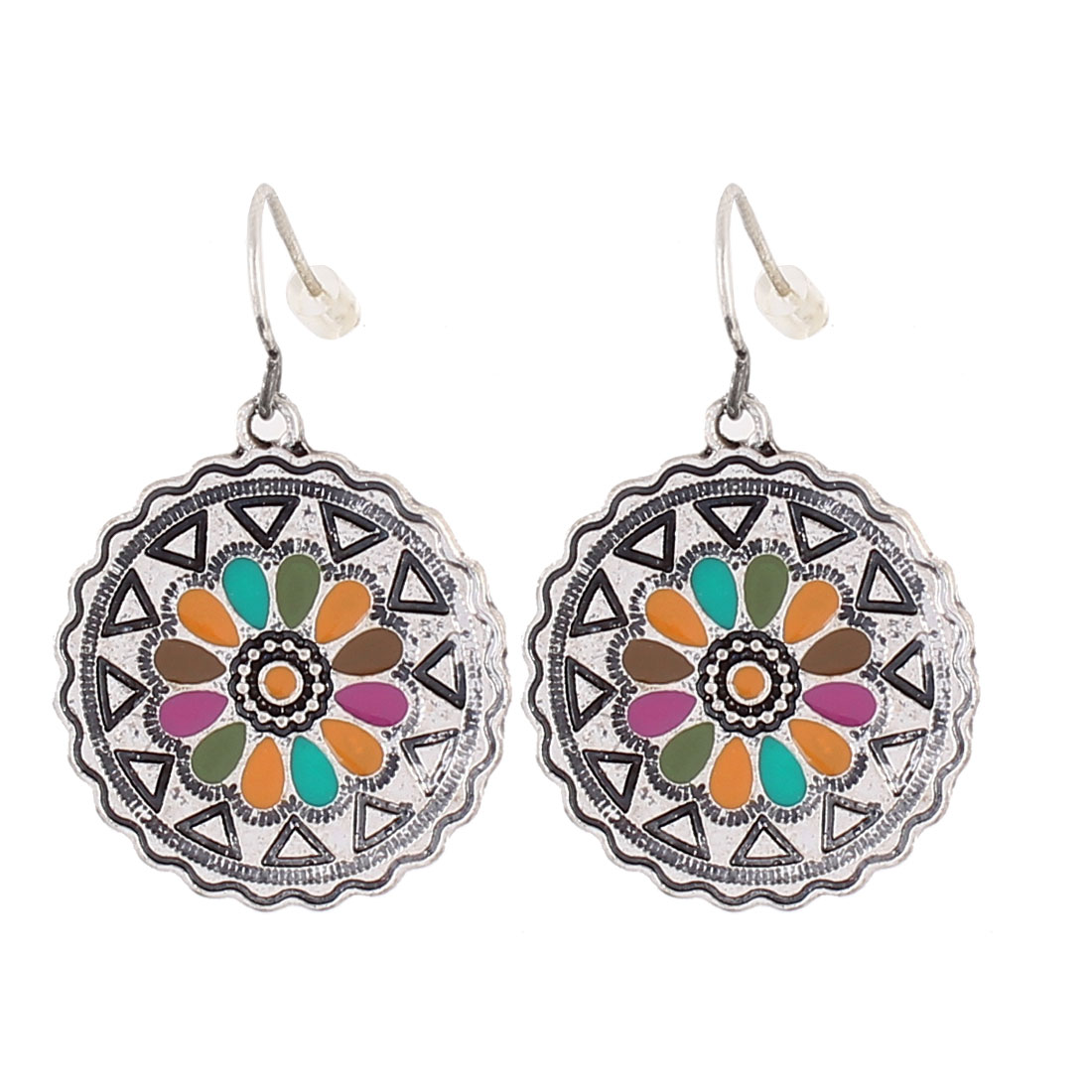 "Women Metal Filled Circle Dangling Pendant Hook Earrings Earbobs Colorful 1.4"" Length Pair"