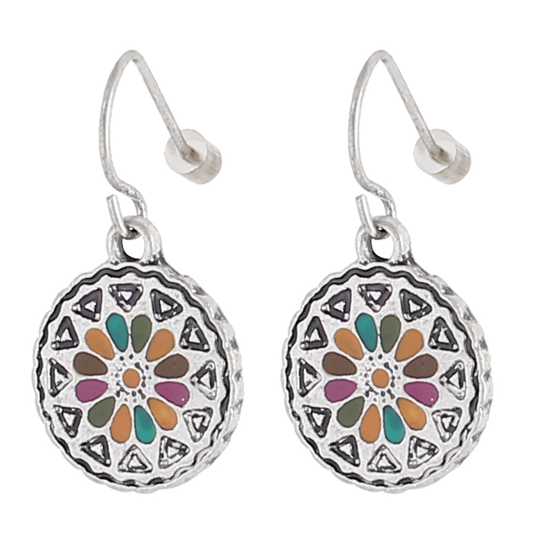 "Women Metal Filled Circle Dangling Pendant Hook Earrings Earbob Colorful Silver Tone 1"" Length Pair"