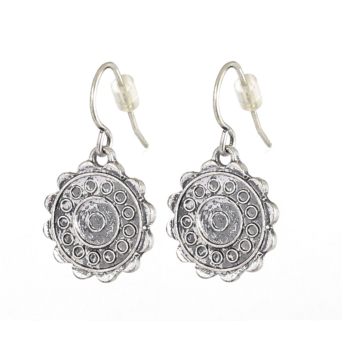 "Women Metal Mignon Filled Circle Little Round Pattern Dangling Pendant Hook Earrings Earbobs Eardrop Silver Tone 1"" Length Pair"