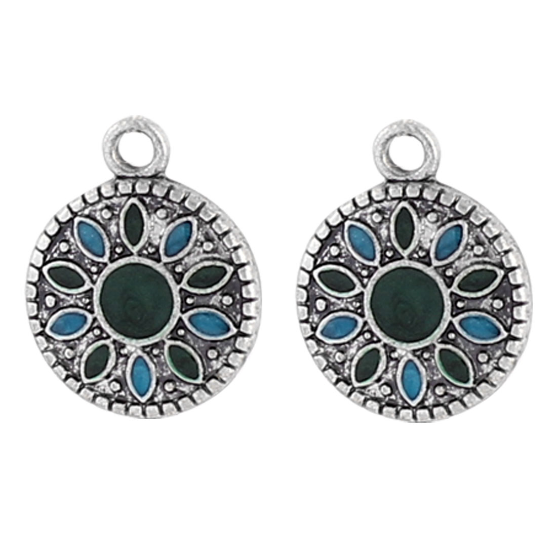 "1.2"" Length Silver Tone Metal Filled Circle Dangling Pendant Hook Earrings Earbobs Pair for Lady Women"
