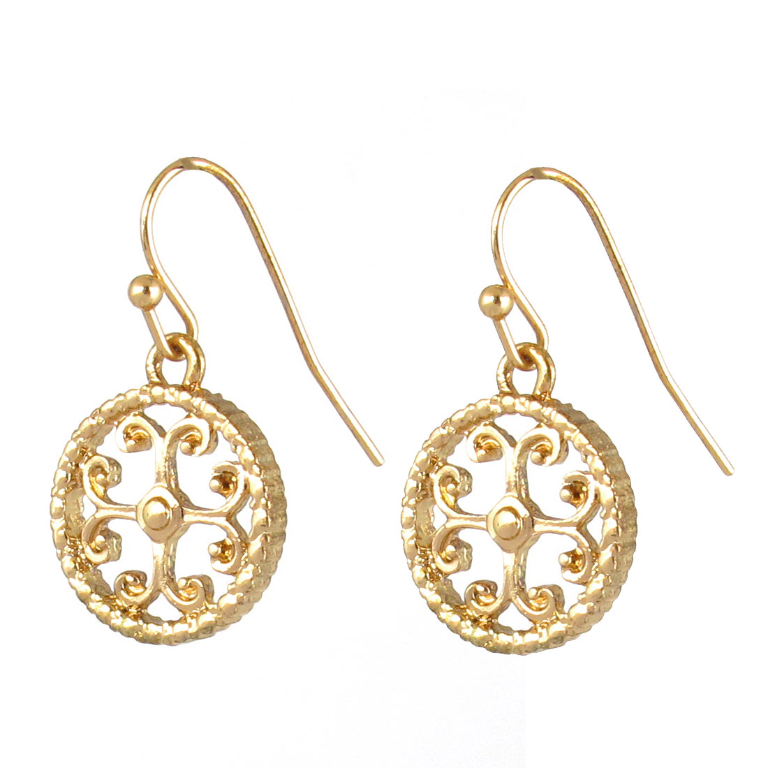 "2"" Length Gold Tone Metal Circle Shape Grass Decor Dangling Pendant Hook Earrings Earbobs Pair for Lady Women"