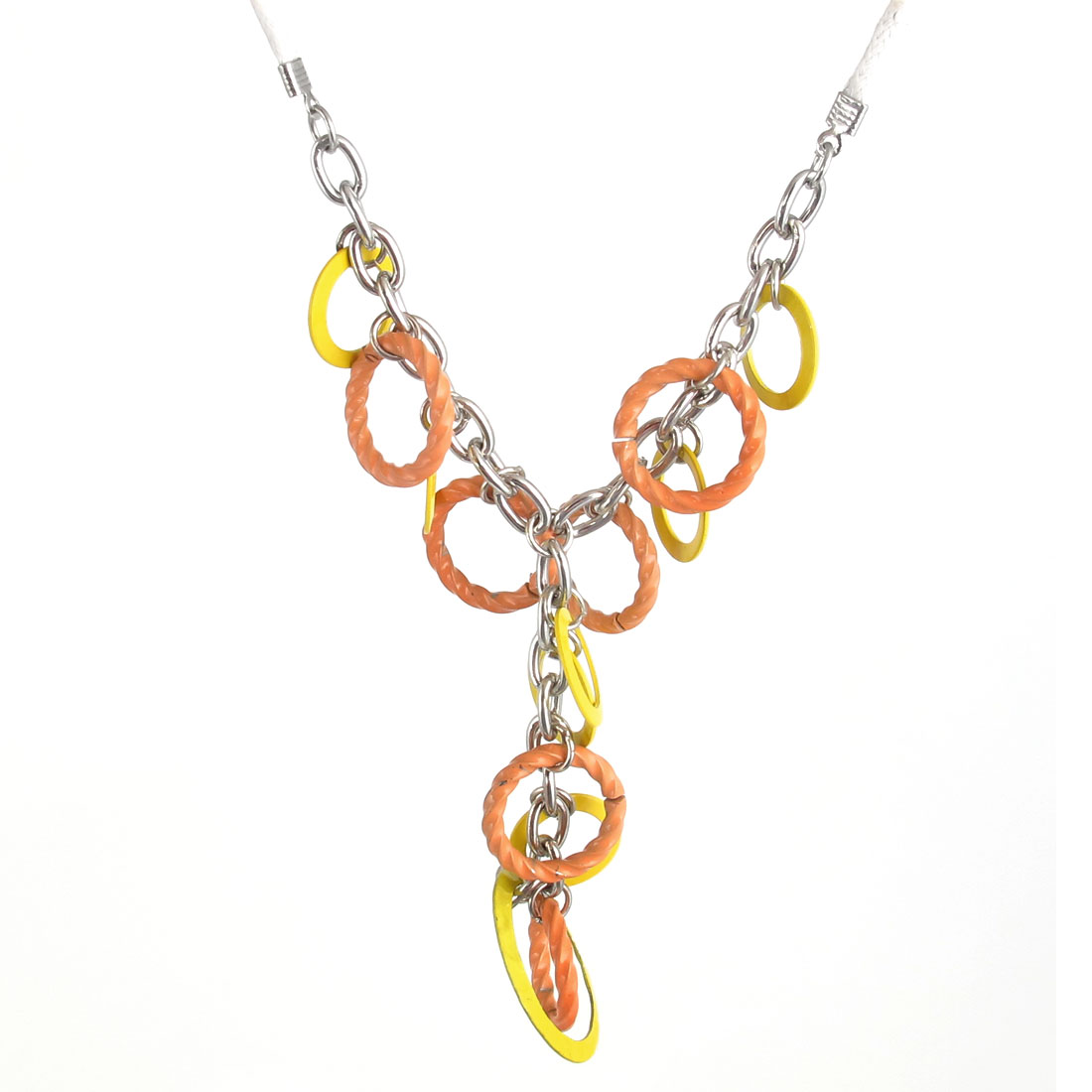 Ladies Metal Orange Yellow Circle Design Pendant Lobster Buckle Nylon String Necklace Neckwear Collar White Silver Tone