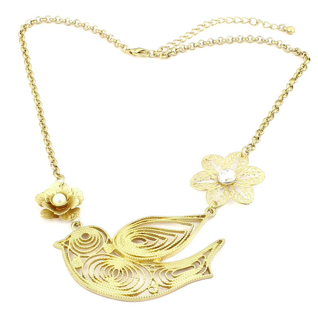 Ladies Plastic Rhinestone Decor Flowers Bird Design Metal Necklace Neckwear Gold Tone