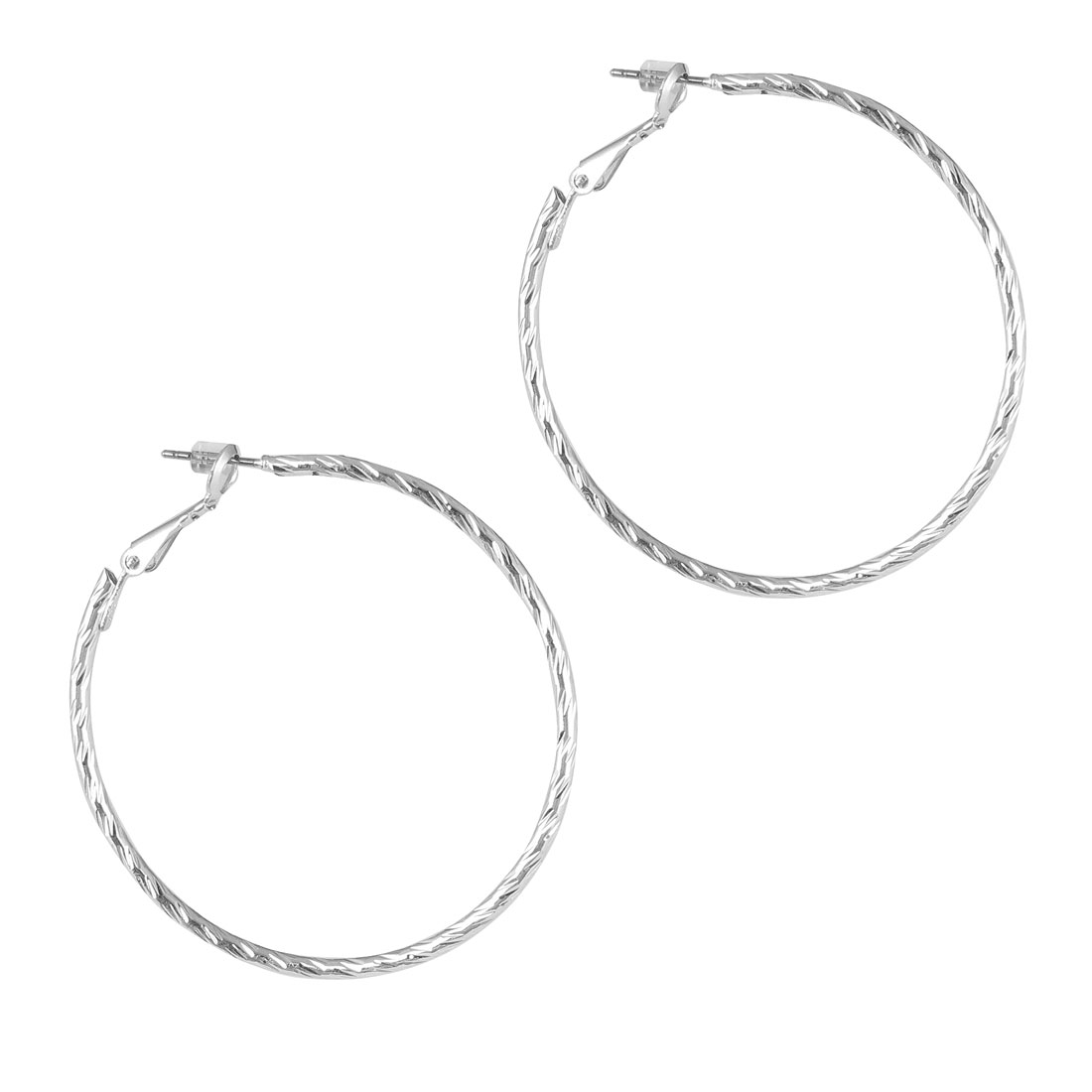 "2"" Dia Silver Tone Metal Narrow Edge Textured Hoop Pierced Earrings Pair for Lady Women"
