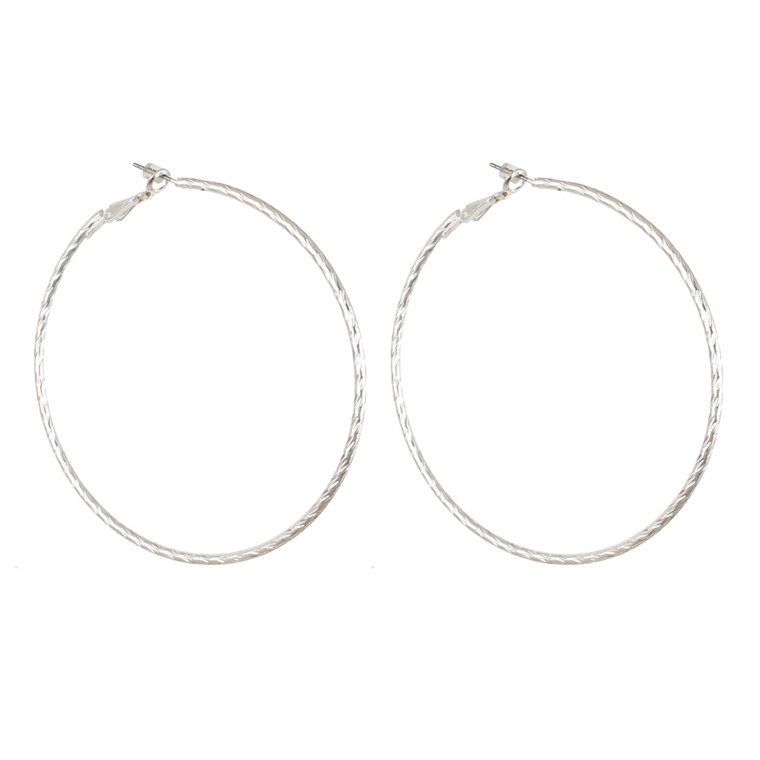 "3"" Dia Silver Tone Metal Textured Narrow Edge Round Circle Hoop Pierced Earrings Pair for Lady Women"