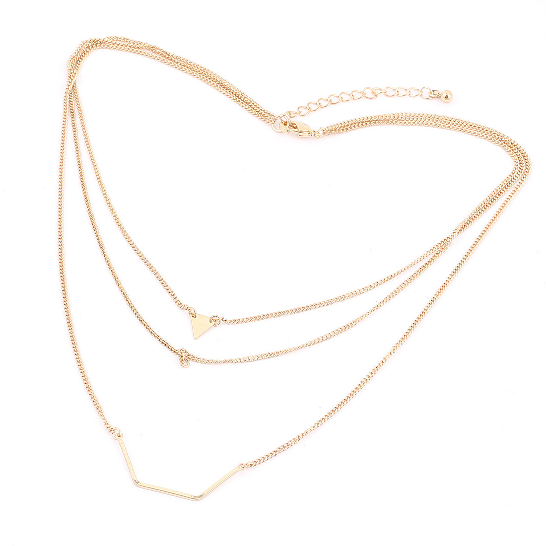 Gold Tone Metal Lightweight Lobster Buckle Strip Link Three Layers Slim Chain Necklace Neckwear Collar for Ladies Women