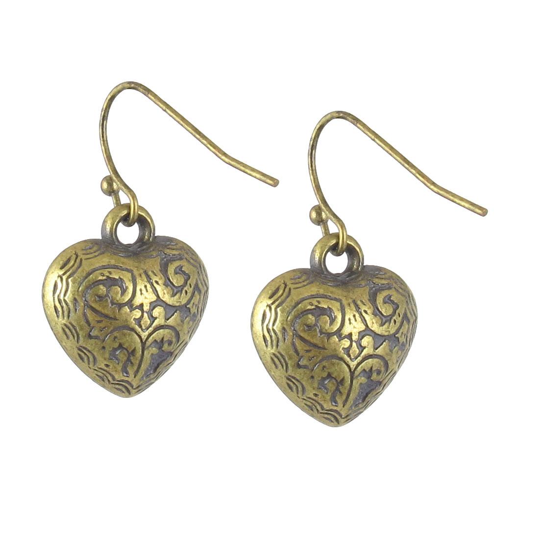 "Women Metal Filled Heart Shape Retro Style Dangling Pendant Fish Hook Earrings Earbob Bronze Tone 0.8"" Length Pair"