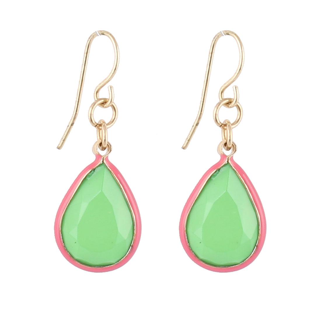 "Women Green Red Faux Crystal Inlaid Waterdrop Shape Dangling Pendant Metal Fish Hook Earrings Earbob Tricolor 1.2"" Length Pair"