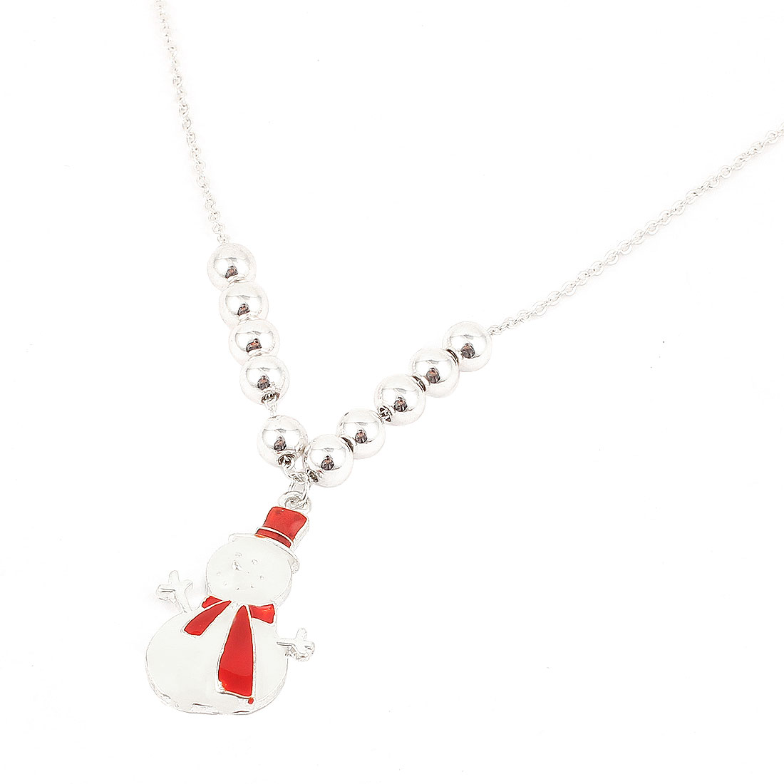 Silver Tone White Red Metal Snowman Design Pendant Lobster Buckle Strip Link Slim Chain Necklace Neckwear Collar for Ladies Women