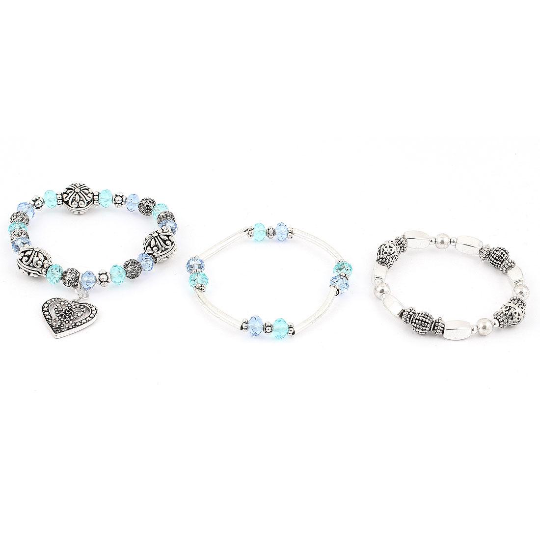 Unisex Plastic Crystals Elastic Band Wrist Decor Bracelets Bangle Tricolor 3pcs