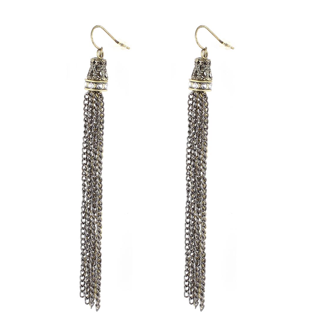 "Women Metal Chain Tassels Dangling Pendant Fish Hook Earrings Earbob Bronze Tone Black 4"" Length Pair"