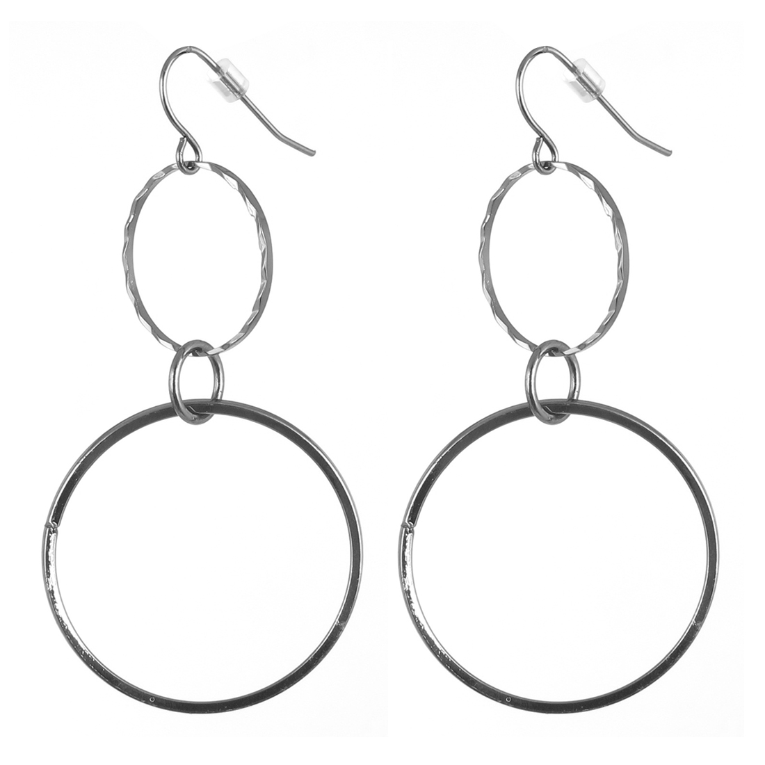 "Women Metal Tricyclic Connect Hollow Out Circle Shape Dangling Pendant Hook Earrings Earbobs Black 2.8"" Length Pair"