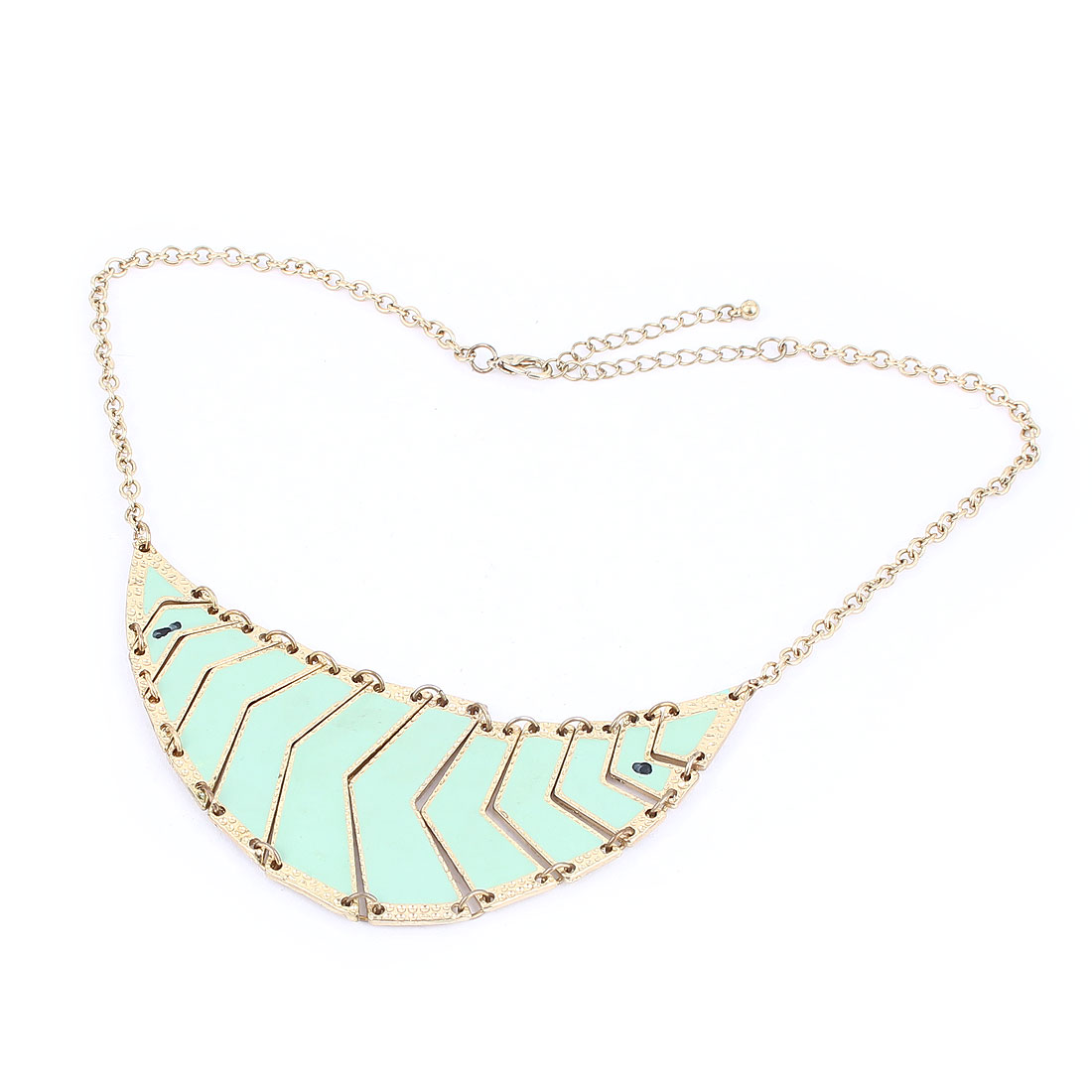 Gold Tone Light Green Plastic Crystals Inlaid Metal Lobster Buckle Strip Link Slim Chain Necklace Neckwear Collar for Ladies Women