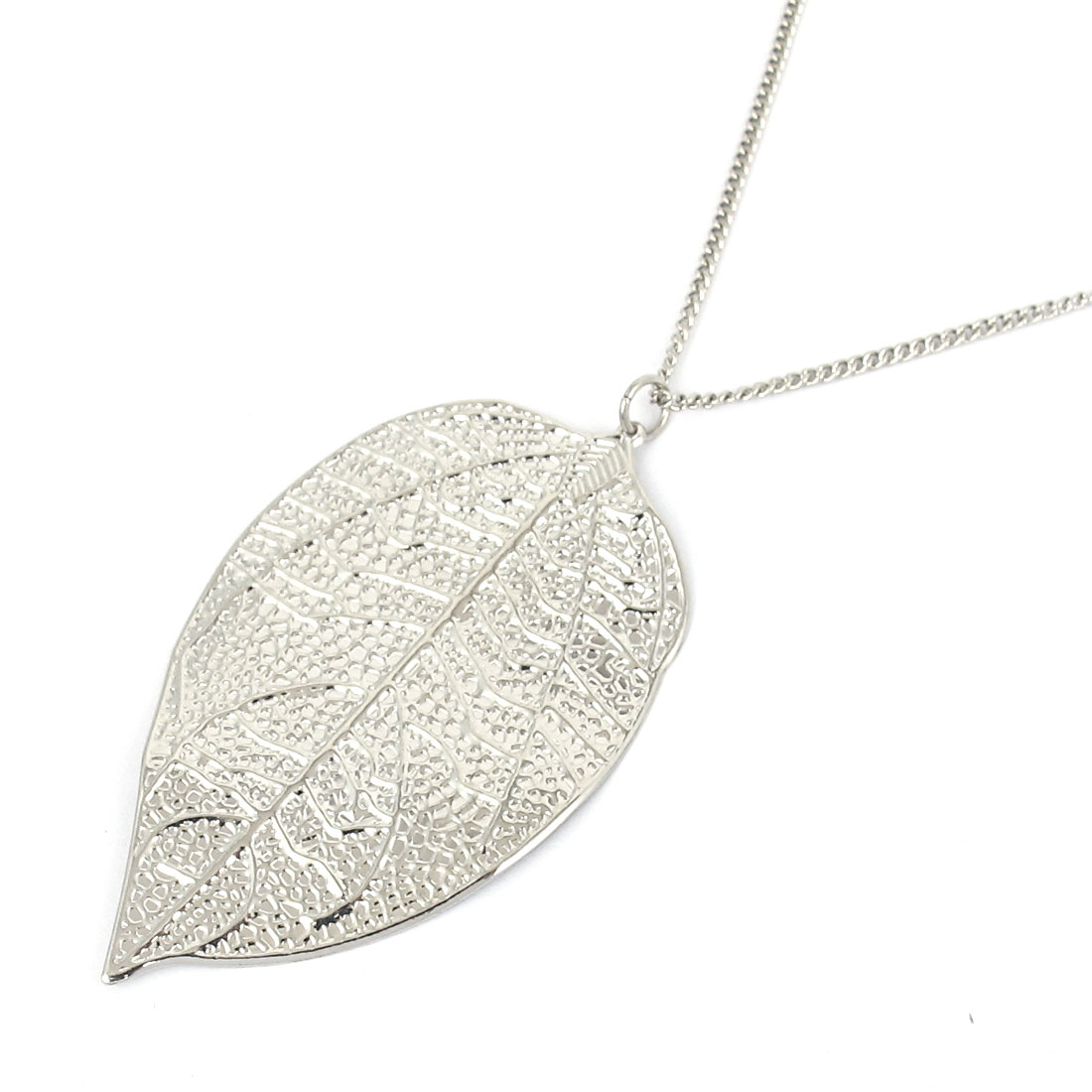 Ladies Women Metal Leaf Design Pendant Lobster Buckle Strip Link Slim Chain Necklace Neckwear Collar for Silver Tone