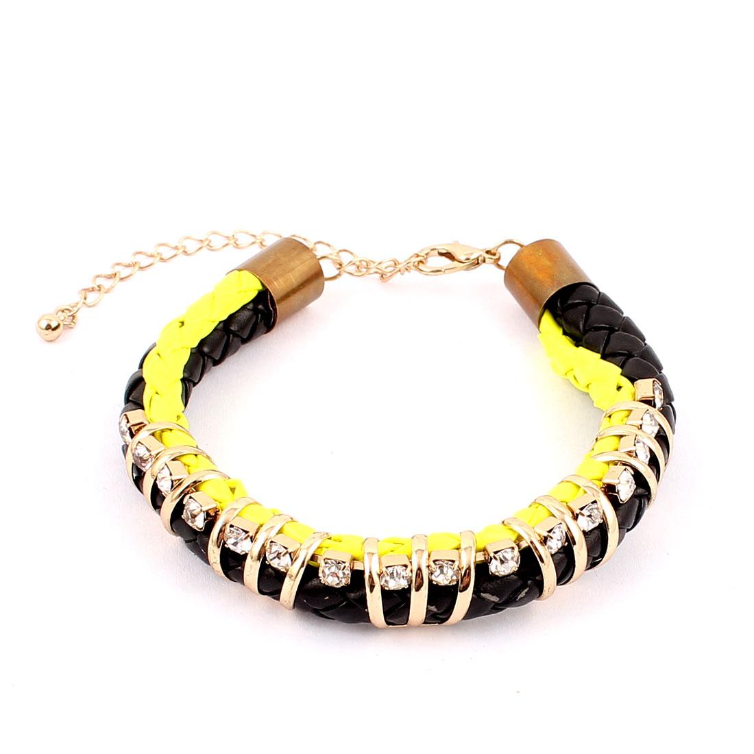 Unisex Tricolor Metal Faux Leather Artificial Crystal Wrist Decoration Bracelet Bangle for Lady Women Men