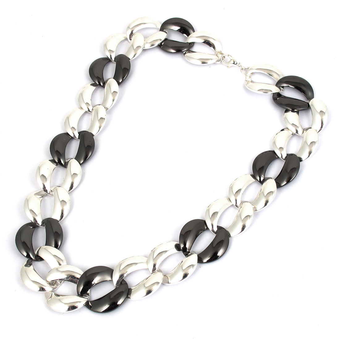 "Women Metal Thick Chain Strip Link Design Lobster Buckle Necklace Neckwear Collar Silver Tone Black 18.1"" Length"