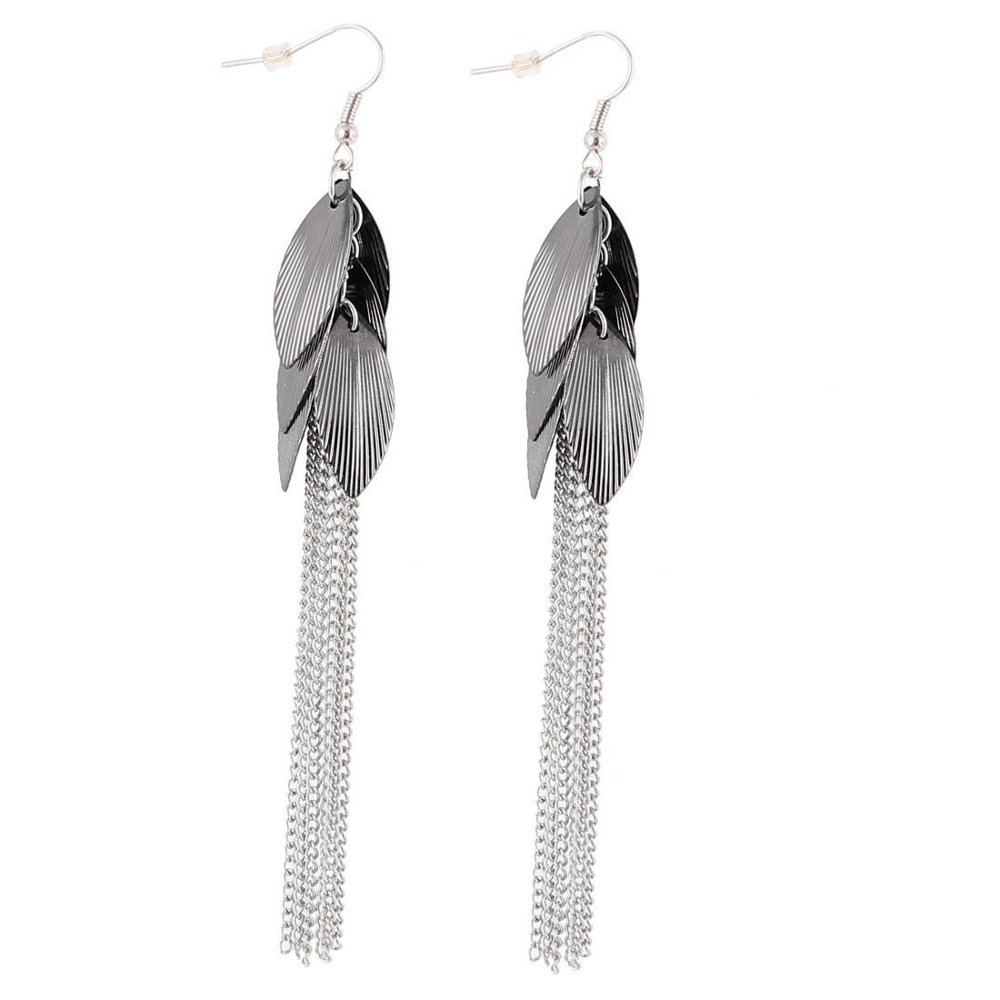"Woman Black Metal Chain Tassels Leaves Shape Dangling Pendant Fish Hook Earrings Earbob Silver Tone 4.7"" Length Pair"