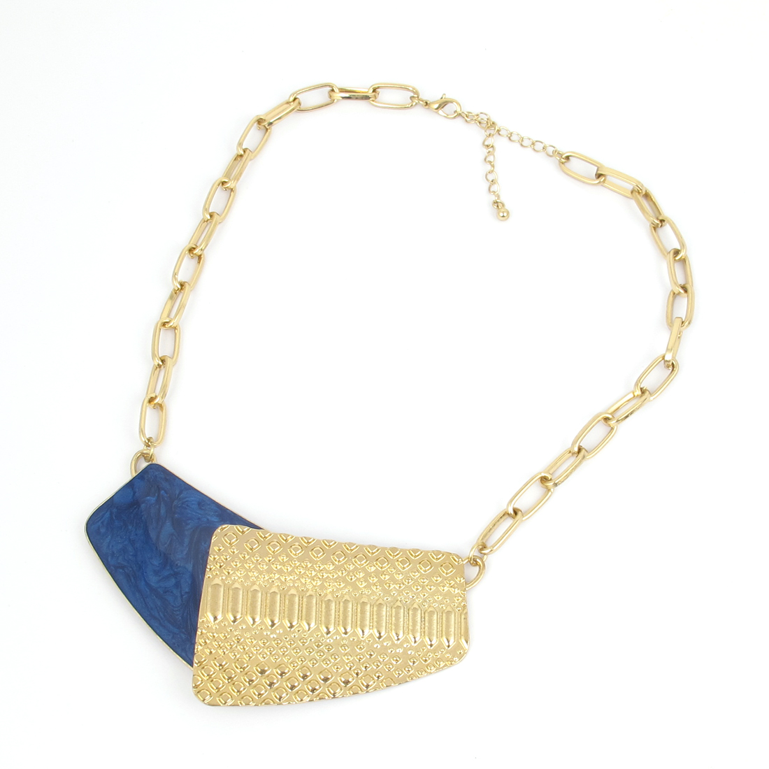 Ladies Women Metal Lobster Buckle Strip Link Chain Necklace Neckwear Collar Gold Tone Dark Blue