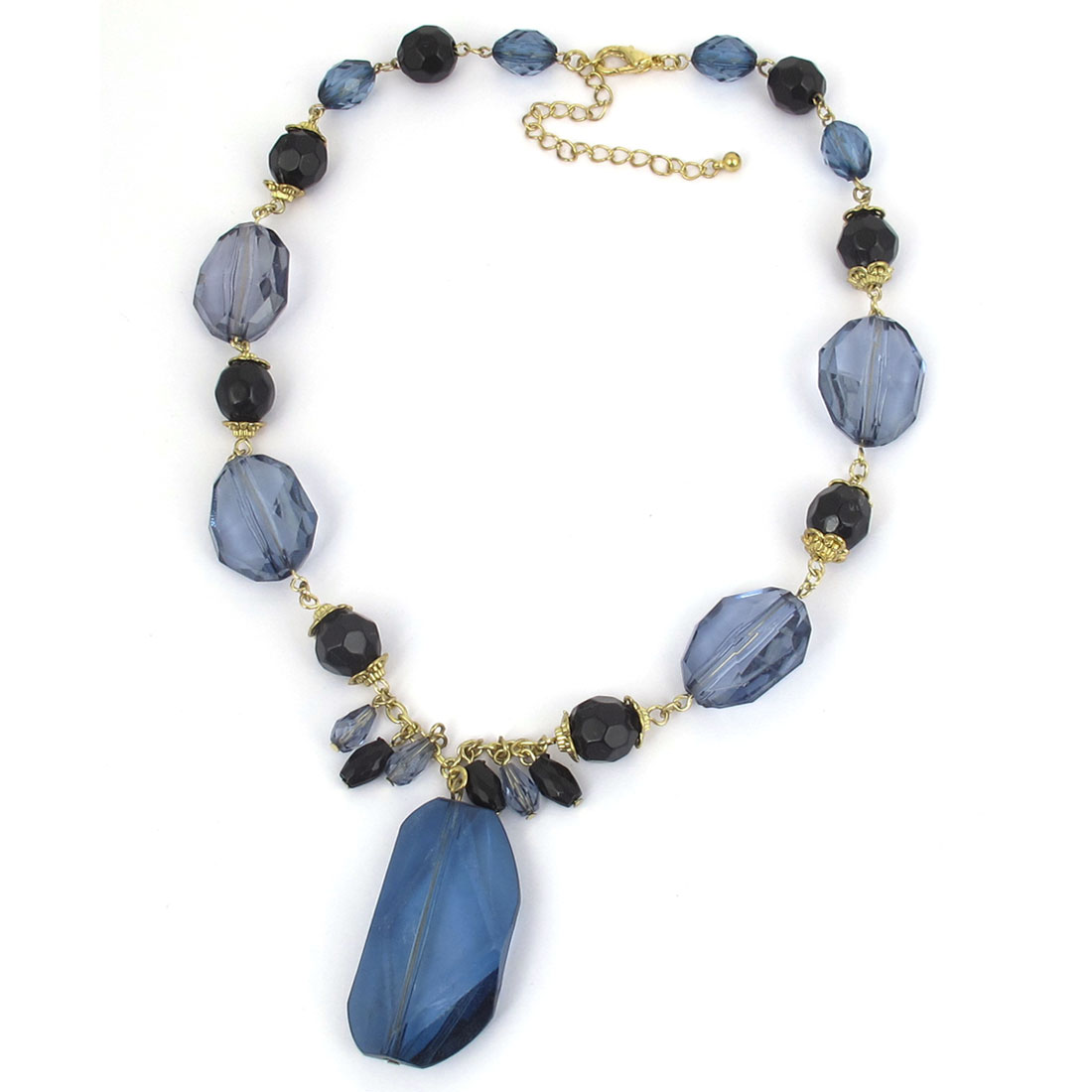 Ladies Black Dusty Blue Plastic Beads Detail Crystals Pendant Metal Lobster Buckle Strip Link Necklace Neckwear Collar Gold Tone