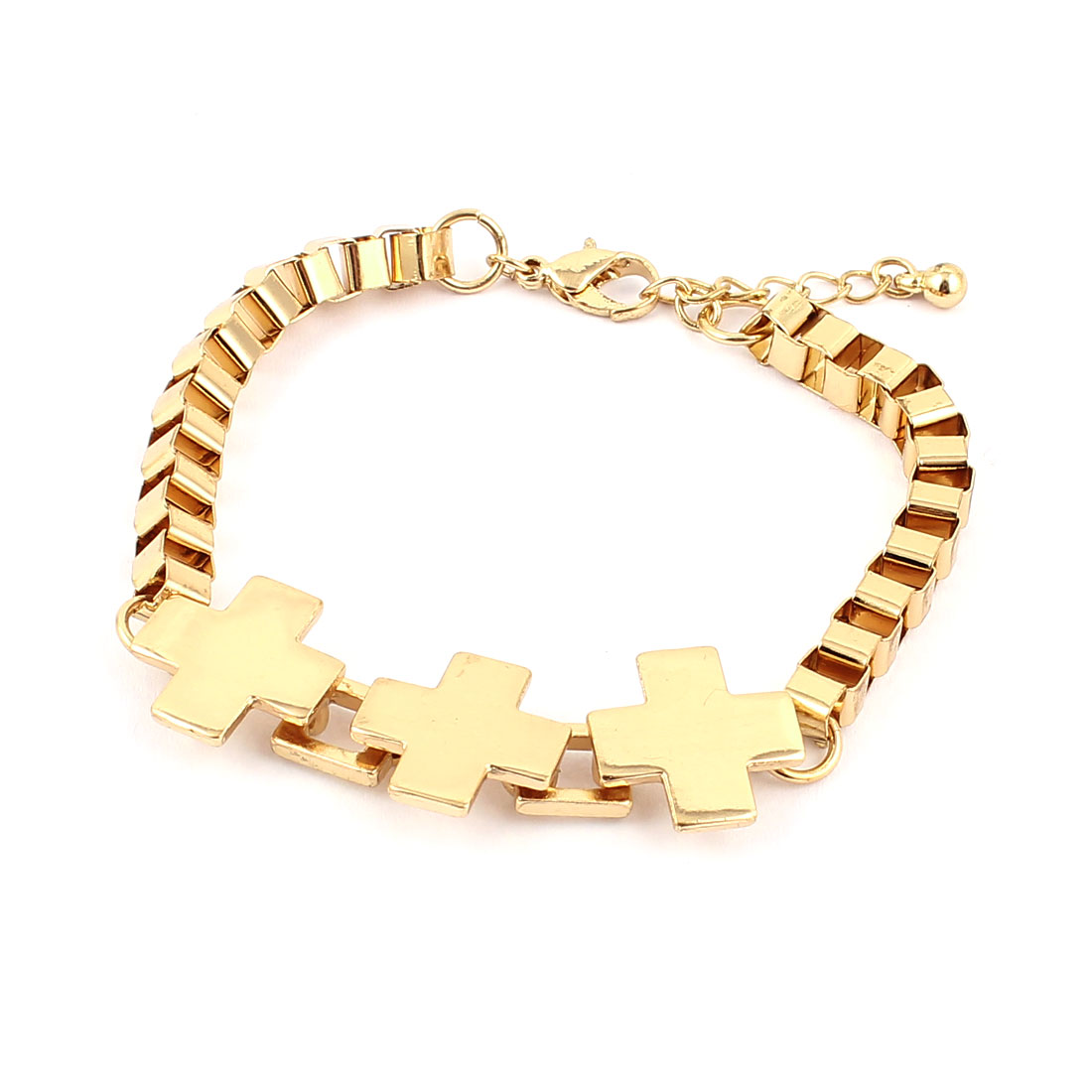 Unisex Gold Tone Metal The Cross Detail Adjustable Chain Wrist Decoration Bracelet Bangle for Lady Women Men