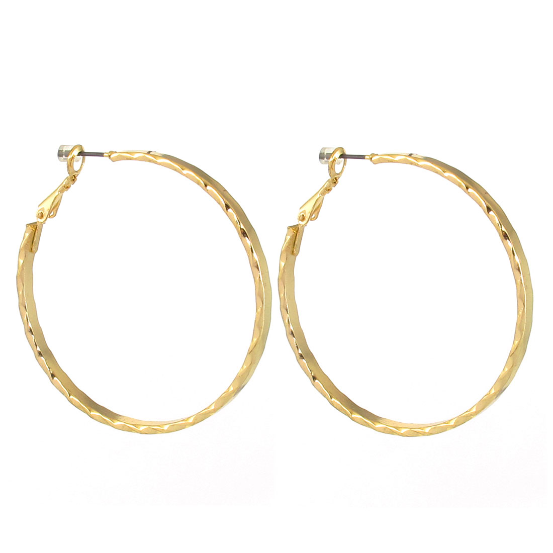 "2"" Dia Gold Tone Metal Stylish Textured Circle Hoop Pierced Earrings Pair for Lady Women"
