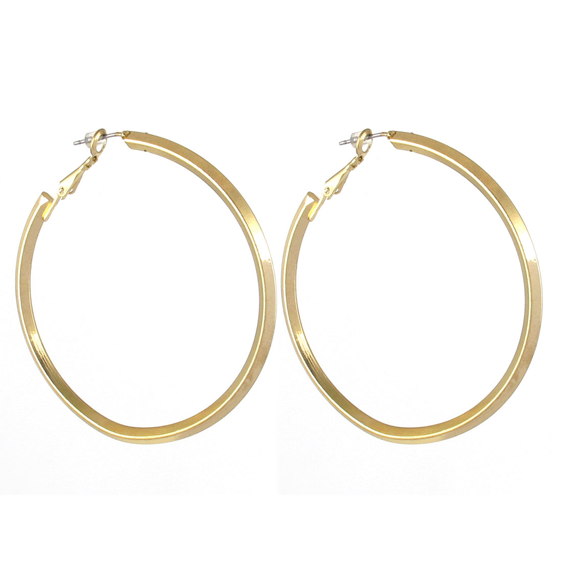 "2.3"" Dia Gold Tone Metal Elegant Stylish Narrow Smooth Edge Round Circle Hoop Pierced Earrings Pair for Lady Women"