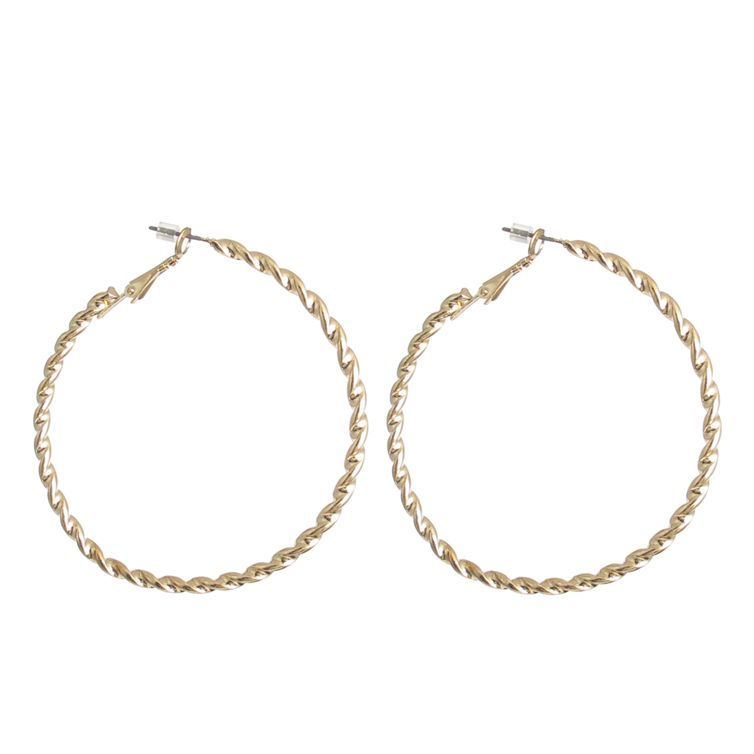 "2.3"" Dia Gold Tone Metal Elegant Stylish Narrow Edge Textured Hoop Pierced Earrings Pair for Lady Women"