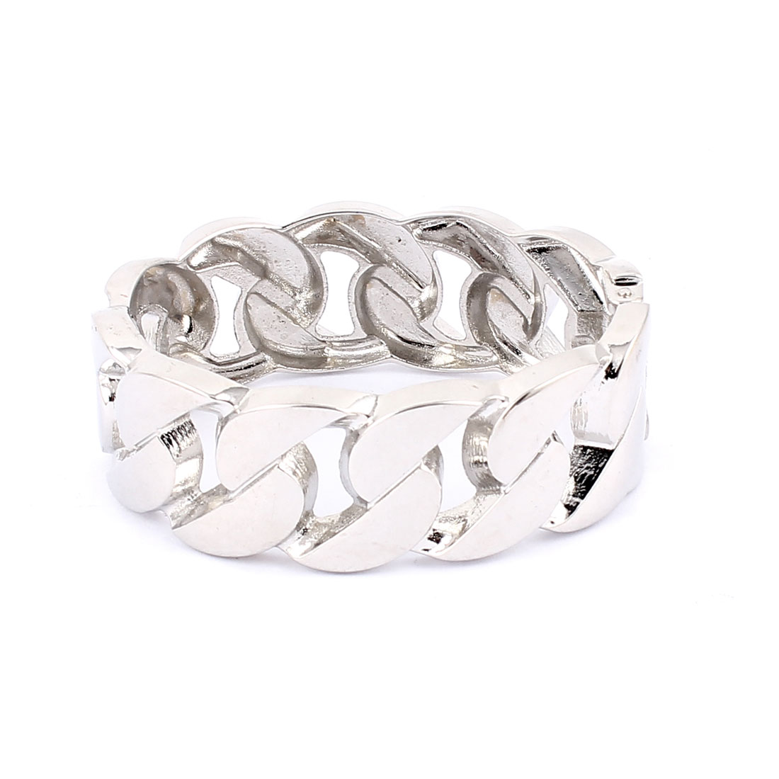 Silver Tone Metal Spring Loaded Oval Shape Wide Cuff Wrist Decoration Bracelet Bangle for Lady Women
