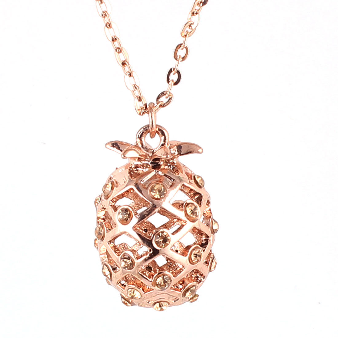 Ladies Women Plastic Rhinestones Decor Hollow Out Pineapple Design Pendant Metal Lobster Buckle Slim Chain Necklace Neckwear Copper Tone