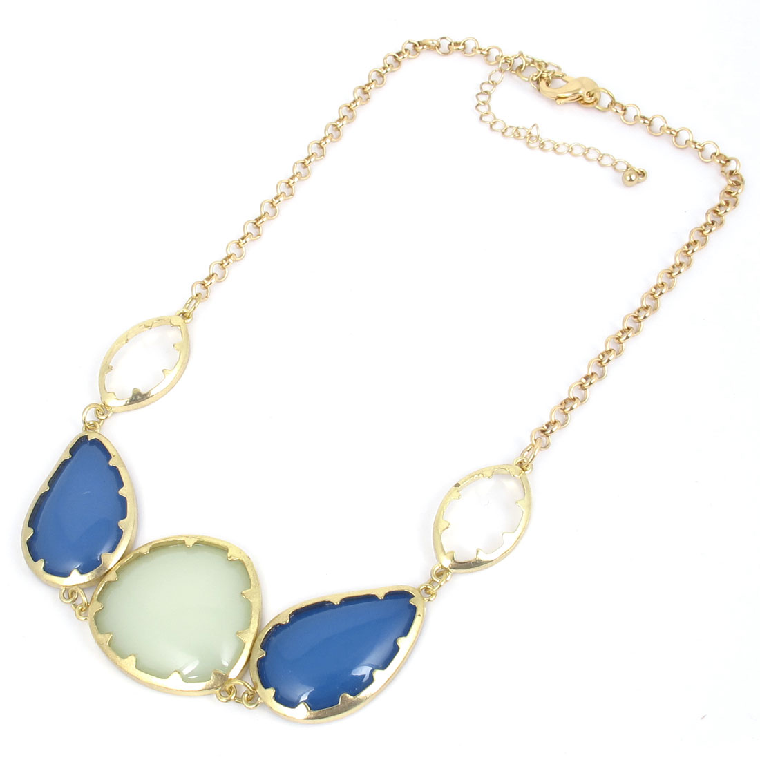 Ladies Blue Light Green Plastic Crystals Inlaid Waterdrop Shape Decor Metal Lobster Buckle Necklace Neckwear Collar Gold Tone