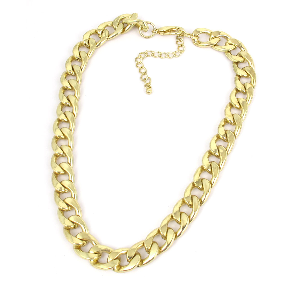 Unisex Metal Thick Chain Strip Link Design Lobster Buckle Necklace Neckwear Collar Gold Tone